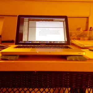 Laptop on soap during day 3 at Nimrod Hall Writers Workshop