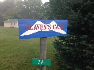 "Nimrod Hall Writers' Workshop sign reading, ""Heaven's Gate"""