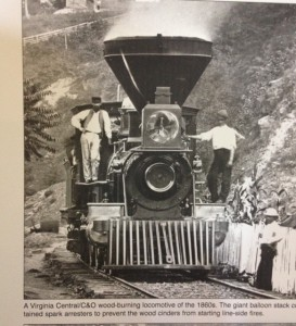 Virginia Central Railroad locomotive and men, 1860s