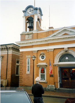 One of the authors standing in front of the Town Hall in Centreville, MD. This is one of many stately and historic buildings in the downtown area that includes Lawyer's Row.