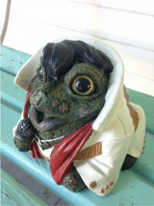 Statue of a frog in Elvis wig and coat at Nimrod Hall