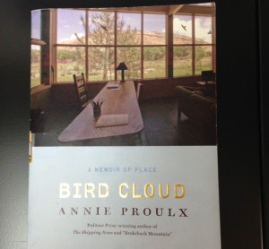 Book cover of Annie Proulx's Bird Cloud showing my ideal writing space