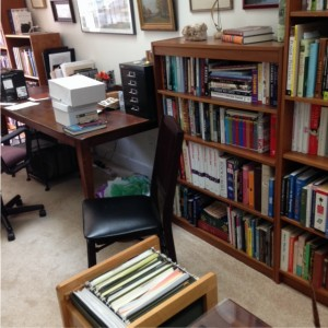 writing space: office with desk, filing cabinet, bookshelf
