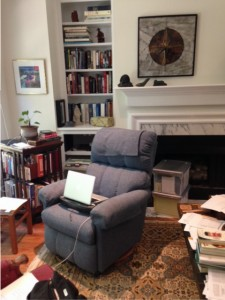My real writing space: a recliner with a laptop