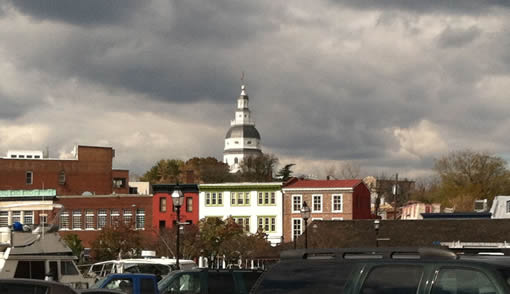 The Annapolis skyline, featuring the dome of the Capitol Building.