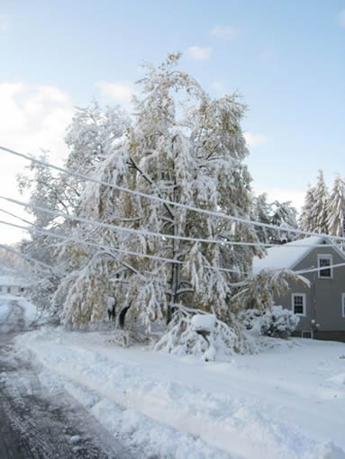 October snow in New Hampshire, when Buck and Allie's house burned.