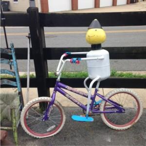 Ashland bike sculpture man on bike