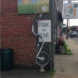 "Ashland bike wall art, ""Park in rear"""