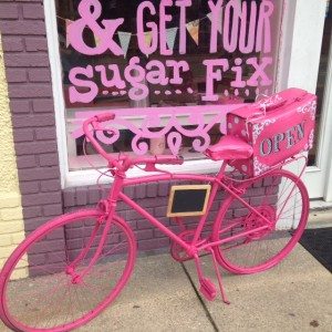 bike painted pink for Ashland bike art