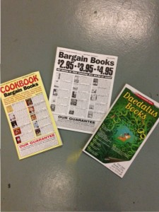 three catalogs from booksellers, bargain books and deadalus books