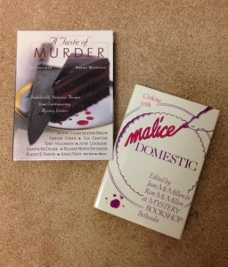 two books for mystery writers , A Taste of Murder and Cook With Malice Domestic