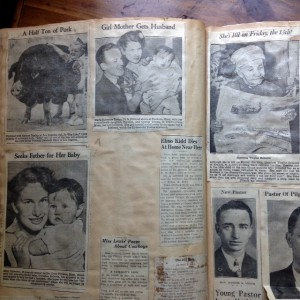 Scrapbook page with newspaper clippings