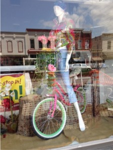 mannequin on bike