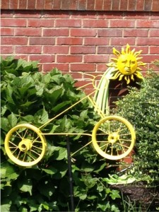 bicycle art: yellow bike with sun