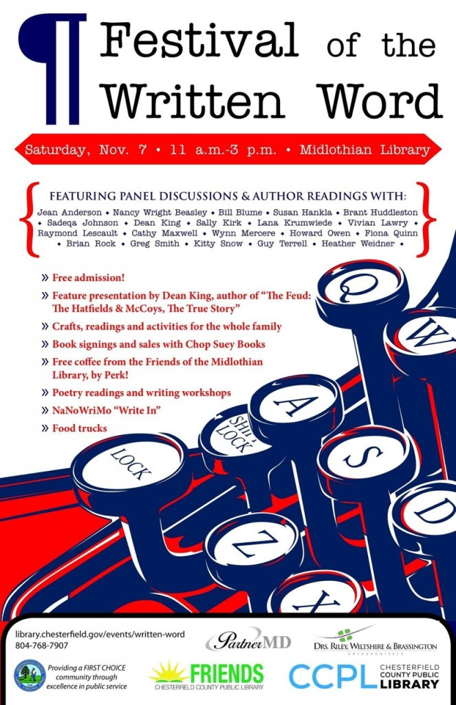 Writers Conference poster: Festival of the Written Word, November 07, 11 a.m.-3 p.m., Midlothian Library