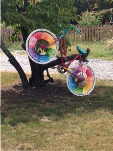 bicycle painted in rainbow colors as art