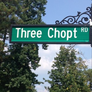 "Road sign, ""Three Chopt Rd"""