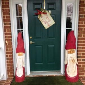 Christmas porch decorations, Santa Claus carvings, Merry Christmas