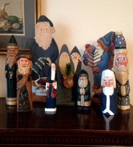 blue Santa Claus figurines related to Odin