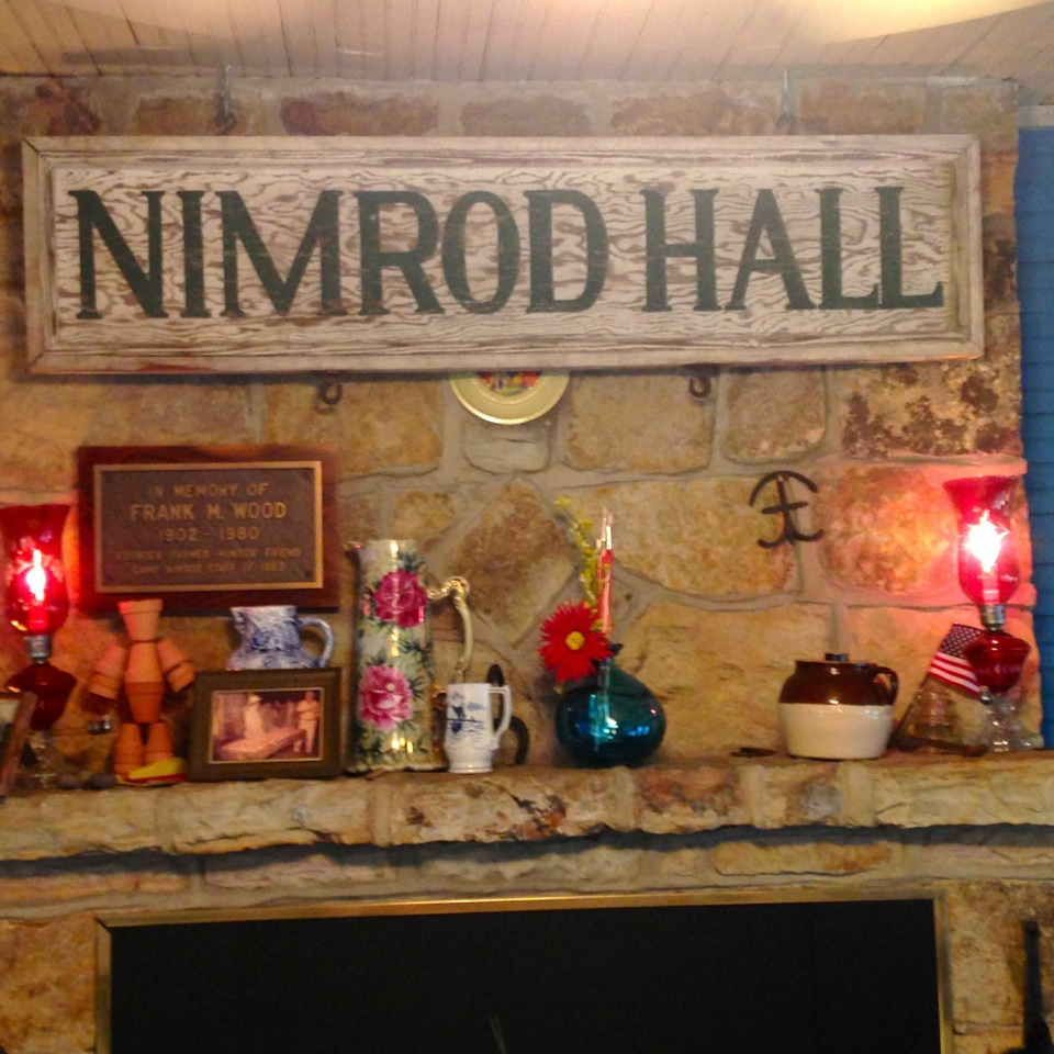 Stone fireplace at Nimrod Hall