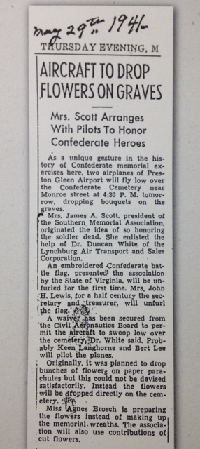 Aircraft to Drop Flowers on Graves, May 29, 1941