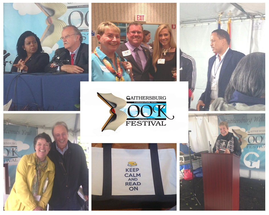 Collage of photos taken at Gaithersburg Book Festival, May 21, 2016