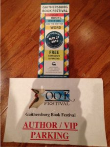 "Gaithersburg Book Festival information and parking pass, ""Author/VIP Parking"""