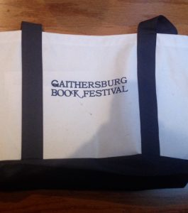 Gaithersburg Book Festival tote bag front, white tote bag, blue logo