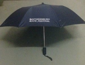 umbrella with Gaithersburg Book Festival logo