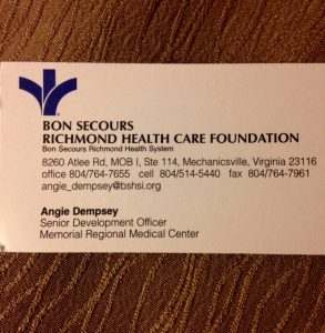 Business card for Senior Development Officer, Memorial Regional Medical Center, Bon Secours Richmond