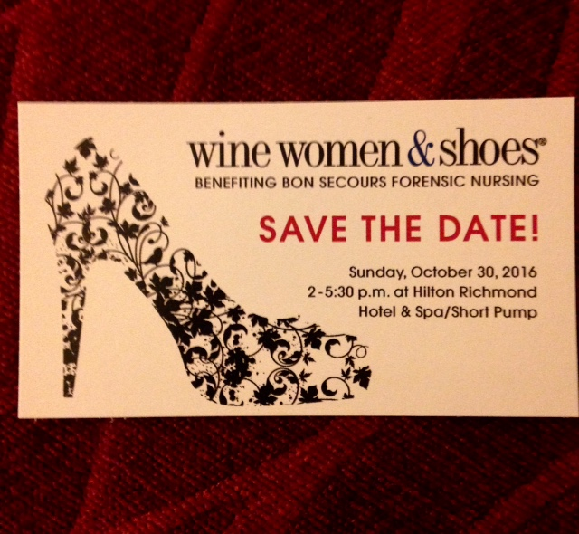 "Save-the-date card, ""Wine Women & Shoes Benefiting Bon Secours Forensic Nursing, Sunday, October 30, 2016"""