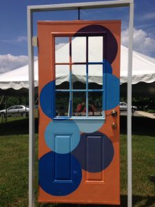 painted door on display during Radford Reads Festival