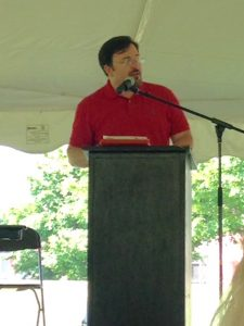 David Horton at podium during Radford Reads festival