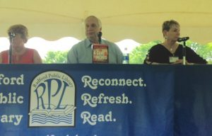 Mystery panel at Radford Reads, Stewart Goodwin, Webb Hubbell, and Vivian Lawry