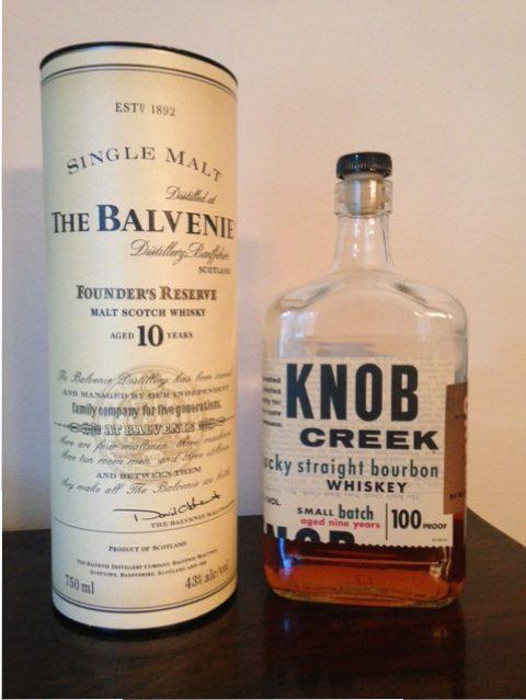 Scotch whisky and bourbon bottle