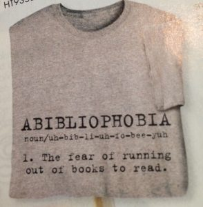 "book addiction t-shirt, ""Abibliophobia"""