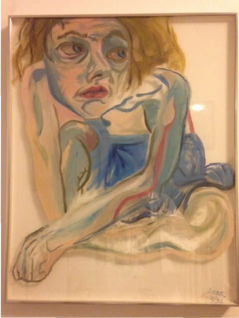 painting of a nude, blue, paranoia