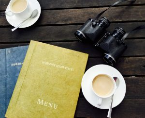travel menus coffee binoculars
