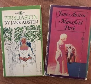book covers of Persuasion and Mansfield Park by Jane Austen